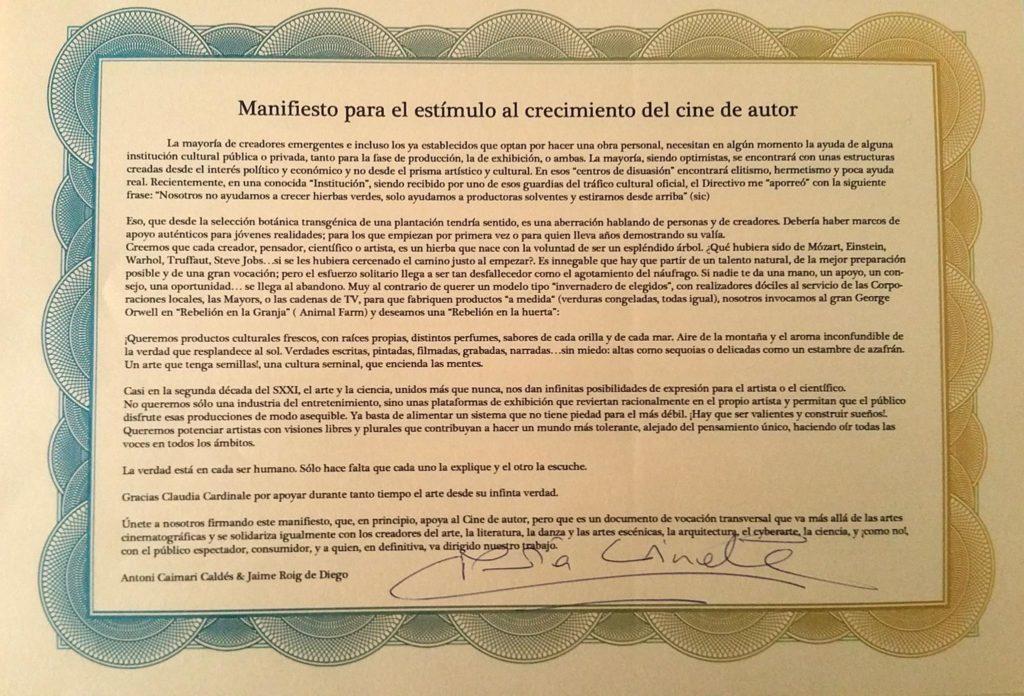 Manifiesto Amadrinado por Claudia Cardinale (Gracias!!!)